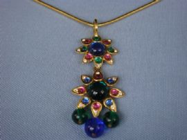 Designer Signed Necklace by Shakira Caine - 1990s Indian Mogul Style Pendant and Chain (Sold)